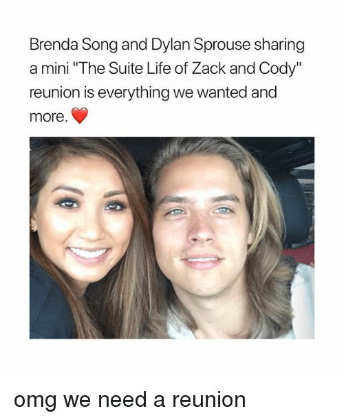 """Life, Omg, and Girl Memes: Brenda Song and Dylan Sprouse sharing  a mini """"The Suite Life of Zack and Cody""""  reunion is everything we wanted and  more omg we need a reunion"""