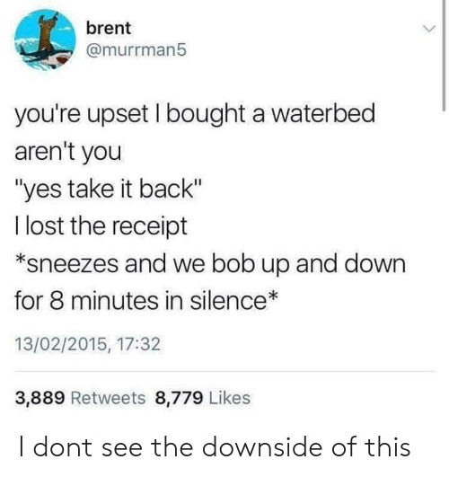 "Take It Back: brent  @murrman5  you're upset I bought a waterbed  aren't you  ""yes take it back""  l lost the receipt  *sneezes and we bob up and down  for 8 minutes in silence  13/02/2015, 17:32  3,889 Retweets 8,779 Likes I dont see the downside of this"
