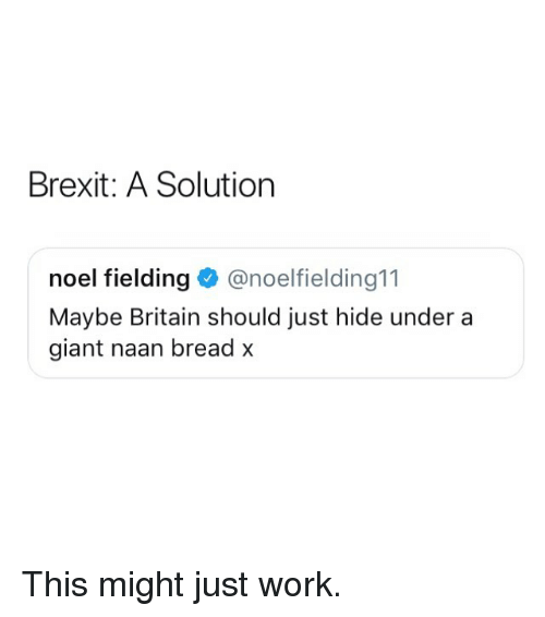 noel: Brexit: A Solution  noel fielding@noelfielding11  Maybe Britain should just hide under a  giant naan bread x This might just work.