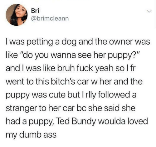 "petting: Bri  @brimcleann  I was petting a dog and the owner was  like ""do you wanna see her puppy?""  and I was like bruh fuck yeah so I fr  went to this bitch's car w her and the  puppy was cute but I rlly followed a  stranger to her car bc she said she  had a puppy, Ted Bundy woulda loved  my dumb ass"