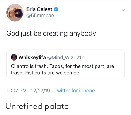 wiz: Bria Celest O  @55mmbae  God just be creating anybody  Whiskeylifa @Mind_Wiz · 21h  Cilantro is trash. Tacos, for the most part, are  trash. Fisticuffs are welcomed.  11:07 PM · 12/27/19 · Twitter for iPhone Unrefined palate