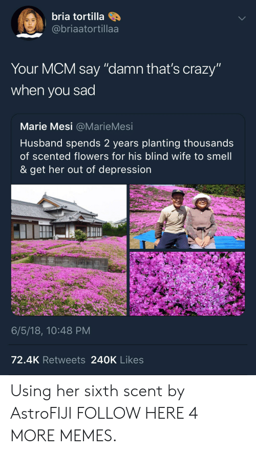 "mcm: bria tortilla  @@briaatortillaa  Your MCM say ""damn that's crazy""  when you sad  Marie Mesi @MarieMesi  Husband spends 2 years planting thousands  of scented flowers for his blind wife to smell  & get her out of depression  6/5/18, 10:48 PM  72.4K Retweets 240K Likes Using her sixth scent by AstroFIJI FOLLOW HERE 4 MORE MEMES."