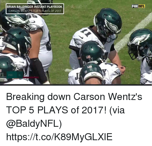 Memes, 🤖, and Top: BRIAN B  ALDING  FOXNFL  ER INSTANT PLAYBOOK  CARSON WENTZ'S TOP 5 PLAYS OF 2017  PHI0 Breaking down Carson Wentz's TOP 5 PLAYS of 2017!  (via @BaldyNFL) https://t.co/K89MyGLXlE