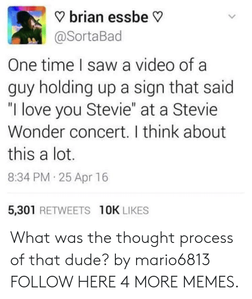 "Stevie Wonder: ? brian essbe V  @SortaBad  One time I saw a video of a  guy holding up a sign that said  ""I love you Stevie"" at a Stevie  Wonder concert. I think about  this a lot.  8:34 PM 25 Apr 16  5,301 RETWEETS 10K LIKES What was the thought process of that dude? by mario6813 FOLLOW HERE 4 MORE MEMES."