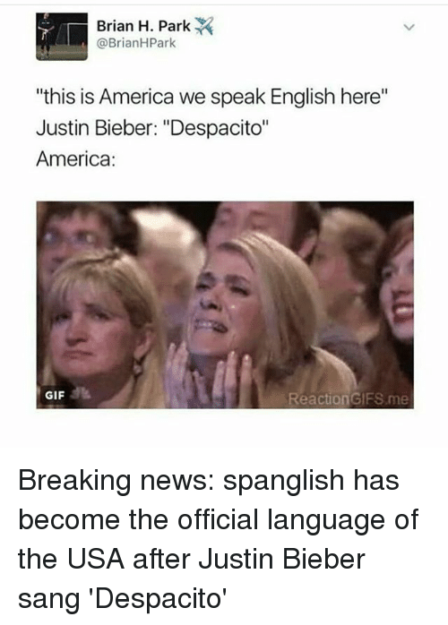 "reaction gifs: Brian H. Park  @Brian H Park  ""this is America we speak English here""  Justin Bieber: ""Despacito""  America  GIF  Reaction GIFS me Breaking news: spanglish has become the official language of the USA after Justin Bieber sang 'Despacito'"