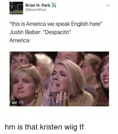 "reaction gifs: Brian H. Park  @Brian HPark  ""this is America we speak English here""  Justin Bieber: ""Despacito""  America:  GIF  Reaction GIFS me hm is that kristen wiig tf"