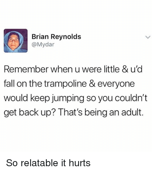Being an Adult, Fall, and Memes: Brian Reynolds  @Mydar  Remember when u were little & u'c  fall on the trampoline & everyone  would keep jumping so you couldn't  get back up? That's being an adult. So relatable it hurts