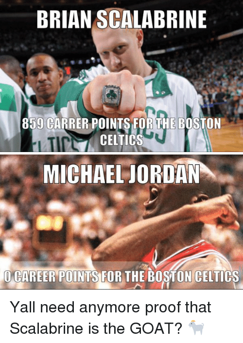 Celtic: BRIAN SCALABRINE  859 CARRER POINTS FOR THE BOSTON  CELTICS   MICHAEL JORDAN  CAREER POINTS FOR THE BOSTON CELTICS Yall need anymore proof that Scalabrine is the GOAT? 🐐