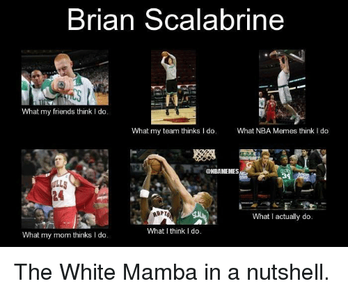 I Think I Do: Brian Scalabrine  What my friends think l do.  What my team thinks I do  What NBA Memes think l do  @NBAMEMES  ARPTO  What actually do.  What I think I do.  What my mom thinks I do The White Mamba in a nutshell.