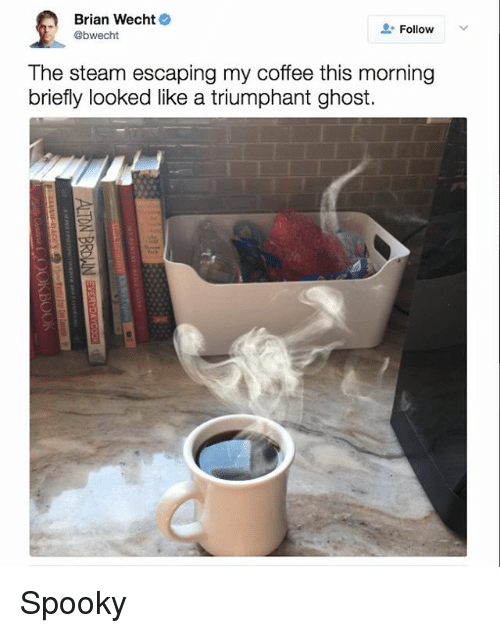 Steam, Coffee, and Ghost: Brian Wecht  Follow  @bwecht  The steam escaping my coffee this morning  briefly looked like a triumphant ghost. Spooky