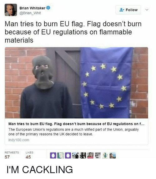 Whitnesses: Brian Whitaker  Follow  @Brian Whit  Man tries to burn EU flag. Flag doesn't burn  because of EU regulations on flammable  materials  Man tries to burn EU flag. Flag doesn't burn because of EU regulations on f...  The European Union's regulations are a much vilified part of the Union, arguably  one of the primary reasons the UK decided to leave.  indy 100.com  RETWEETS  LIKES  57  45 I'M CACKLING