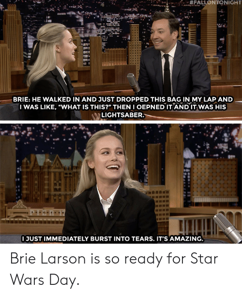 """burst into tears: BRIE: HE WALKED IN AND JUST DROPPED THIS BAG IN MY LAP AND  I WAS LIKE, """"WHAT IS THIS?"""" THENI OEPNED IT AND IT WAS HIS  LIGHTSABER  I JUST IMMEDIATELY BURST INTO TEARS. IT'S AMAZING Brie Larson is so ready for Star Wars Day."""