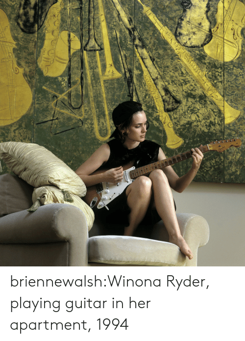Winona Ryder: briennewalsh:Winona Ryder, playing guitar in her apartment, 1994