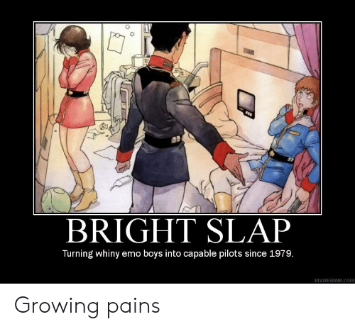 Emo: BRIGHT SLAP  Turning whiny emo boys into capable pilots since 1979.  DIY.DESPAIR.COM Growing pains