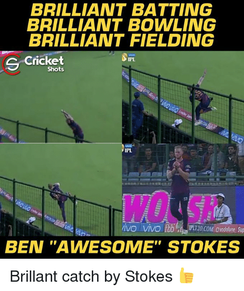 """Memes, Bowling, and Cricket: BRILLIANT BATTING  BRILLIANT BOWLING  BRILLIANT FIELDING  C Cricket  IPL  Shots  IPL  BEN """"AWESOME"""" STOKES Brillant catch by Stokes 👍"""