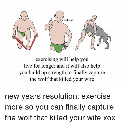 Memes, New Year's Resolutions, and Exercise: brilliant  exercising will help you  live for longer and it will also help  you build up strength to finally capture  the wolf that killed your wife new years resolution: exercise more so you can finally capture the wolf that killed your wife xox