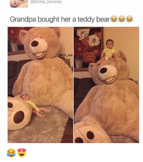 Memes, Grandpa, and Bear: @brina lioness  Grandpa bought her a teddy bear  Gwill ent 😂😍