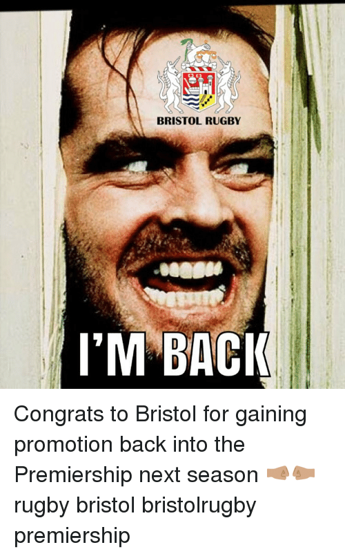 Bristol: BRISTOL RUGBY  M BACI Congrats to Bristol for gaining promotion back into the Premiership next season 🤜🏽🤛🏽 rugby bristol bristolrugby premiership