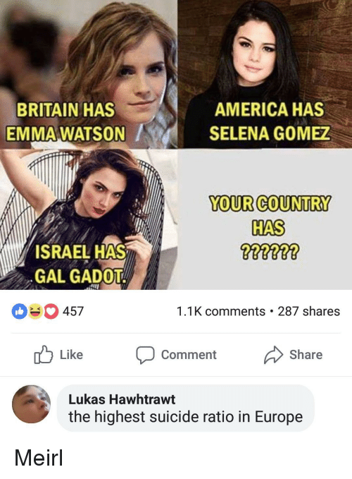 Selena Gomez: BRITAIN HAS  EMMA WATSON  AMERICA HAS  SELENA GOMEZ  YOUR COUNTRY  HAS  ISRAEL HAS  GAL GADOT  457  1.1K comments . 287 shares  Like Comment Share  Lukas Hawhtrawt  the highest suicide ratio in Europe Meirl