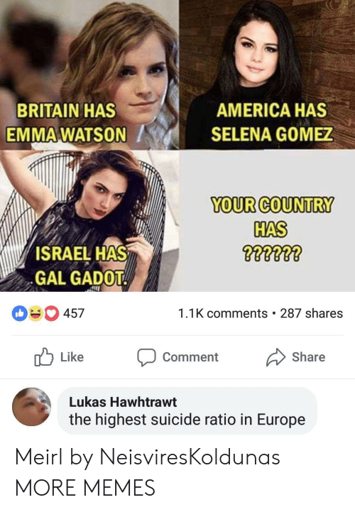 Selena Gomez: BRITAIN HAS  EMMA WATSON  AMERICA HAS  SELENA GOMEZ  YOUR COUNTRY  HAS  ISRAEL HAS  GAL GADOT  457  1.1K comments . 287 shares  Like Comment Share  Lukas Hawhtrawt  the highest suicide ratio in Europe Meirl by NeisviresKoldunas MORE MEMES