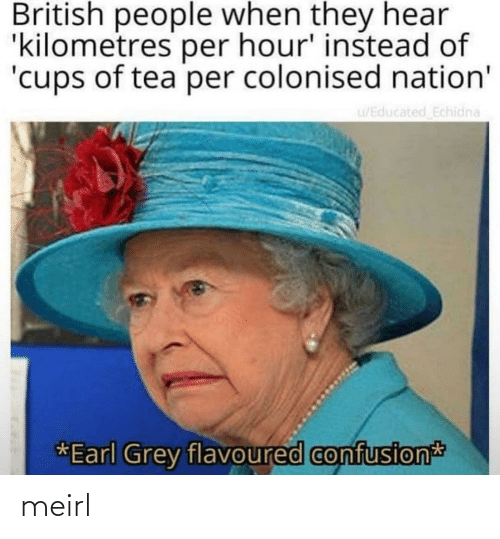 confusion: British people when they hear  'kilometres per hour' instead of  'cups of tea per colonised nation'  u/Educated Echidna  *Earl Grey flavoured confusion meirl