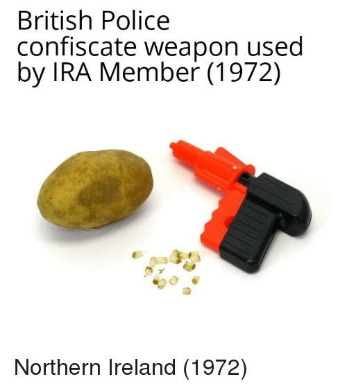 ira: British Police  confiscate weapon used  by IRA Member (1972) Northern Ireland (1972)