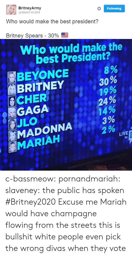This Is Bullshit: Britney Army  @SlaveForUBrit  Following  Who would make the best president?  Britney Spears-30%   Who would make the  best President?  BEYONCE  BRITNEY  8%  A 30 %  19  , 24%  CHER  GAGA  MADONNA  MARIAH  LIVE  by c-bassmeow: pornandmariah:  slaveney:  the public has spoken #Britney2020  Excuse me Mariah would have champagne flowing from the streets this is bullshit   white people even pick the wrong divas when they vote