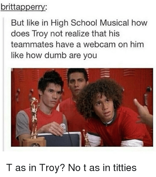 High School Musical, Titties, and Trendy: britta  er  But like in High School Musical how  does Troy not realize that his  teammates have a webcam on him  like how dumb are you T as in Troy? No t as in titties