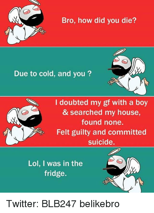 did you die: Bro, how did you die?  Due to cold, and you?  I doubted my gf with a boy  & searched my house,  found none.  Felt guilty and committed  suicide.  Lol, I was in the  fridge. Twitter: BLB247 belikebro