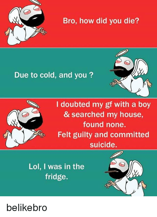 did you die: Bro, how did you die?  Due to cold, and you?  Idoubted my gf with a boy  & searched my house,  found none.  Felt guilty and committed  suicide.  ︽.  Lol, I was in the  fridge. belikebro