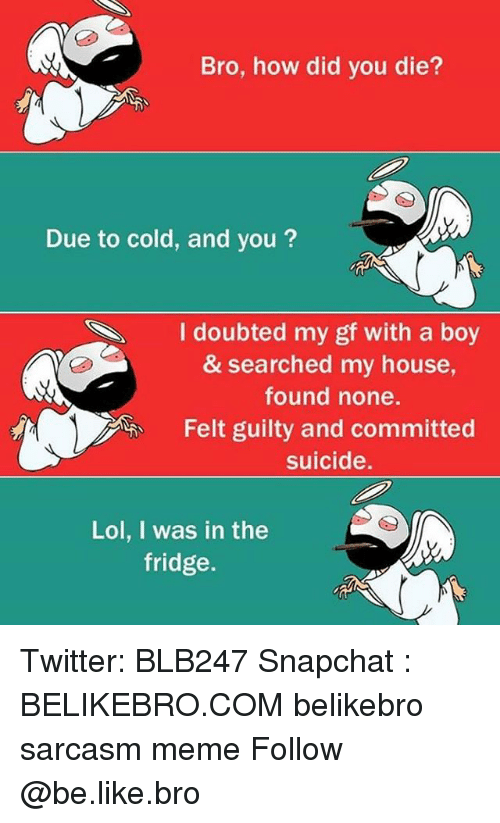 Be Like, Lol, and Meme: Bro, how did you die?  Due to cold, and you?  I doubted my gf with a boy  & searched my house,  found none.  Felt guilty and committed  suicide.  S.  Lol, I was in the  fridge. Twitter: BLB247 Snapchat : BELIKEBRO.COM belikebro sarcasm meme Follow @be.like.bro