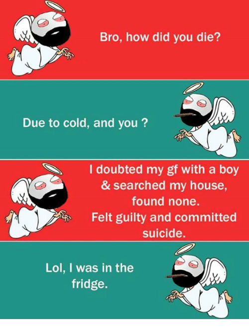 did you die: Bro, how did you die?  Due to cold, and you  I doubted m  gf with a boy  & searched my house,  found none.  Felt guilty and committed  suicide.  Lol, I was in the  fridge.