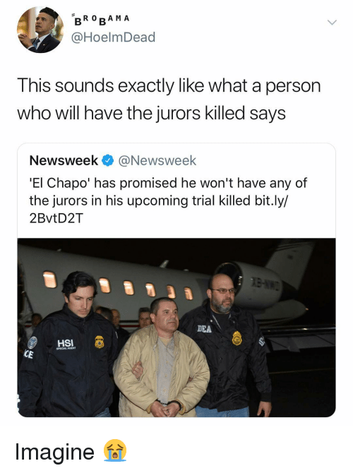 dea: BRO RA M A  @HoelmDead  Ihis sounds exactly like what a person  who will have the jurors killed says  Newsweek @Newsweek  'El Chapo' has promised he won't have any of  the jurors in his upcoming trial killed bit.ly/  2BvtD2T  DEA  HSI  SPECIALAGENT  CE Imagine 😭
