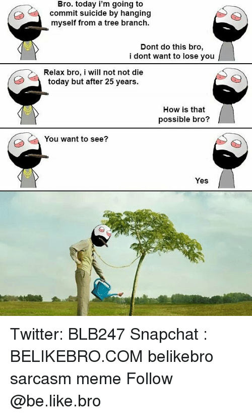 Be Like, Meme, and Memes: Bro. today i'm going to  commit suicide by hanging  myself from a tree branch.  Dont do this bro,  i dont want to lose you  Relax bro, i will not not die  today but after 25 years.  How is that  possible bro?  You want to see?  Yes Twitter: BLB247 Snapchat : BELIKEBRO.COM belikebro sarcasm meme Follow @be.like.bro