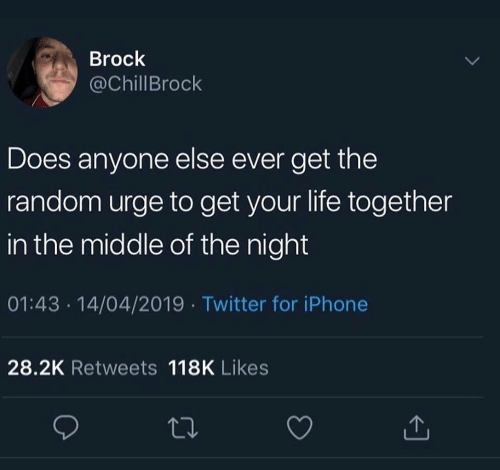 Brock: Brock  @ChillBrock  Does anyone else ever get the  random urge to get your life together  in the middle of the night  01:43 .14/04/2019 Twitter for iPhone  28.2K Retweets 118K Likes