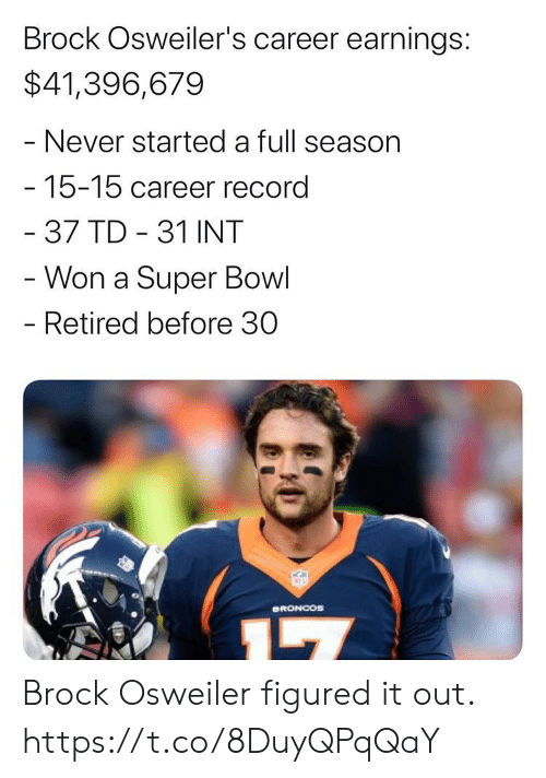 Osweiler: Brock Osweiler's career earnings:  $41,396,679  - Never started a full season  -15-15 career record  - 37 TD 31 INT  - Won a Super Bowl  - Retired before 30  ORONCOS Brock Osweiler figured it out. https://t.co/8DuyQPqQaY