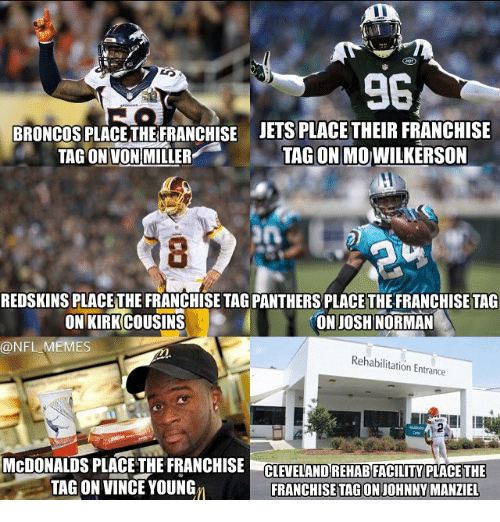 Josh Norman, McDonalds, and Meme: BRONCOS PLACETHEFRANCHISE JETS PLACE THEIR FRANCHISE  TAGON MOWILKERSON  TAG ON VON MILLER  REDSKINS PLACE THE FRANCHISE TAGPANTHERSPLACE THE FRANCHISE TAG  ON JOSH NORMAN  ONIKIRKCOUSINS  @NFL MEMES  Rehabilitation Entrance  McDONALDS PLACE THE FRANCHISE  CLEVELAND REHABFACILITY  PLACE THE  TAG ON VINCE YOUNG  FRANCHISETAGONIOHNNY MANZIEL