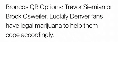 Osweiler: Broncos QB Options: Trevor Siemian or  Brock Osweiler. Luckily Denver fans  have legal marijuana to help them  cope accordingly