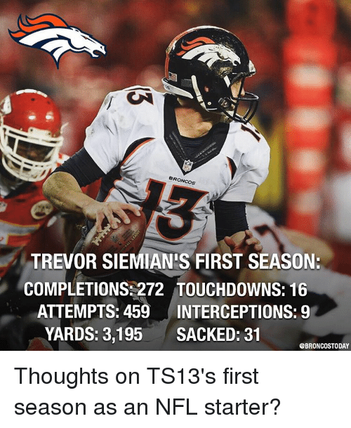Memes, Nfl, and Broncos: BRONCOS  TREVOR SIEMIAN'S FIRST SEASON:  COMPLETIONS: 272 TOUCHDOWNS: 16  ATTEMPTS: 459  INTERCEPTIONS: 9  YARDS: 3,195  SACKED: 31  GBRONCOSTODAY Thoughts on TS13's first season as an NFL starter?
