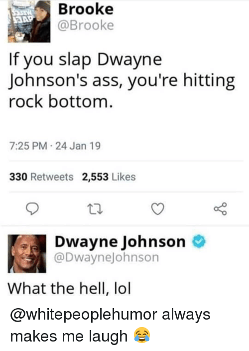 johnsons: Brooke  @Brooke  If you slap Dwayne  Johnson's ass, you're hitting  rock bottom  7:25 PM 24 Jan 19  330 Retweets 2,553 Likes  Dwayne Johnson  @Dwaynejohnson  What the hell, lol @whitepeoplehumor always makes me laugh 😂