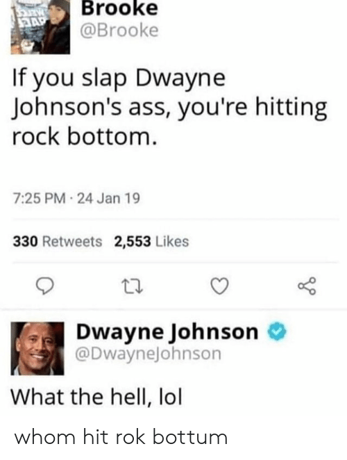 johnsons: Brooke  @Brooke  If you slap Dwayne  Johnson's ass, you're hitting  rock bottom  7:25 PM 24 Jan 19  330 Retweets 2,553 Likes  Dwayne Johnson o  @DwayneJohnson  What the hell, lol whom hit rok bottum