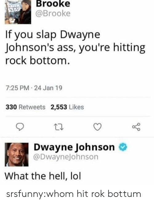 johnsons: Brooke  @Brooke  If you slap Dwayne  Johnson's ass, you're hitting  rock bottom  7:25 PM 24 Jan 19  330 Retweets 2,553 Likes  Dwayne Johnson o  @DwayneJohnson  What the hell, lol srsfunny:whom hit rok bottum