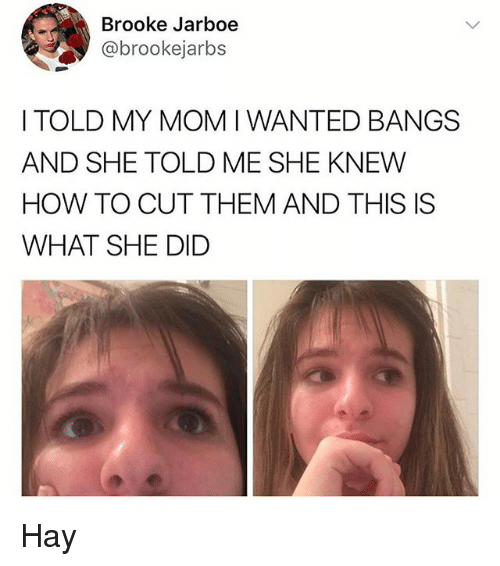 Memes, How To, and 🤖: Brooke Jarboe  @brookejarbs  I TOLD MY MOMI WANTED BANGS  AND SHE TOLD ME SHE KNEW  HOW TO CUT THEM AND THIS IS  WHAT SHE DID Hay