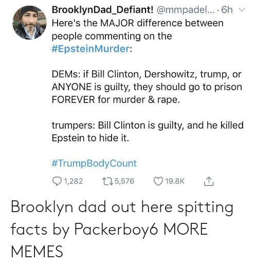 clinton: BrooklynDad_Defiant! @mmpadel.... 6h  Here's the MAJOR difference between  people commenting on the  #EpsteinMurder:  DEMS: if Bill Clinton, Dershowitz, trump,  ANYONE is guilty, they should go to prison  FOREVER for murder & rape.  trumpers: Bill Clinton is guilty, and he killed  Epstein to hide it.  #TrumpBodyCount  1,282  15,576  19.8K Brooklyn dad out here spitting facts by Packerboy6 MORE MEMES