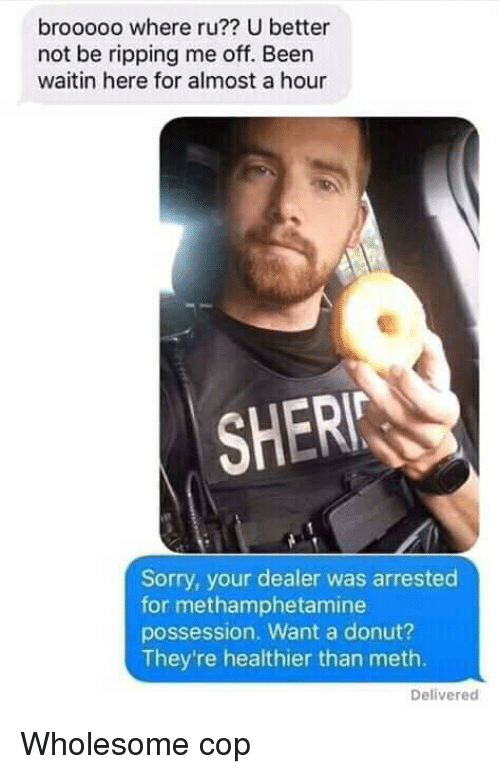 ripping: brooooo where ru?? U better  not be ripping me off. Been  waitin here for almost a hour  SHER  Sorry, your dealer was arrested  for methamphetamine  possession. Want a donut?  They're healthier than meth.  Delivered Wholesome cop