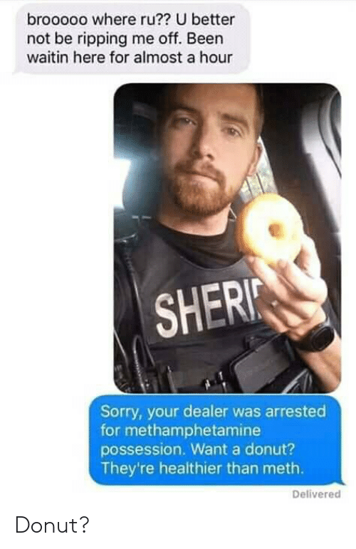 ripping: brooooo where ru?? U better  not be ripping me off. Been  waitin here for almost a hour  SHERI  Sorry, your dealer was arrested  for methamphetamine  possession. Want a donut?  They're healthier than meth.  Delivered Donut?