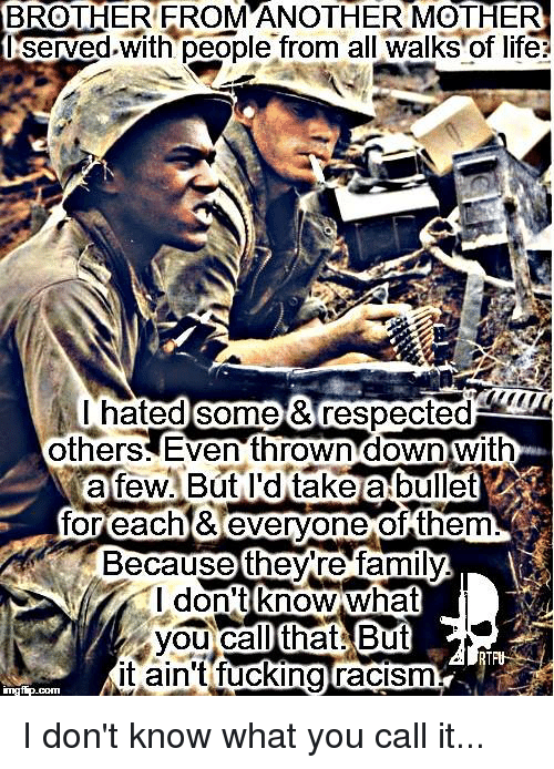 Brother From Another Mother: BROTHER FROM ANOTHER MOTHER  Served with people from all Walks of life  hated Some &respected  others Even thrown down with  for each & everyone of them  Because there family  I don't know what  you Ca  that But  it ain't fucking racism  ingfip.  com I don't know what you call it...