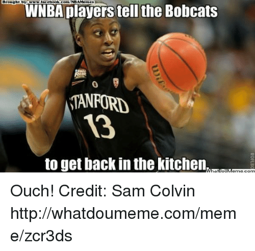Get Back In The Kitchen: Brought by  facebook.com/NBAMemesl  NBA players tell the Bobcats  o  STANFORD  to get back in the kitchen Ouch!