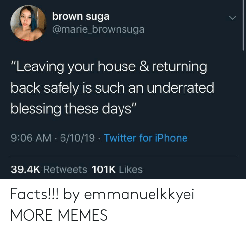 """suga: brown suga  @marie_brownsuga  """"Leaving your house & returning  back safely is such an underrated  blessing these days""""  9:06 AM 6/10/19 Twitter for iPhone  39.4K Retweets 101K Likes Facts!!! by emmanuelkkyei MORE MEMES"""