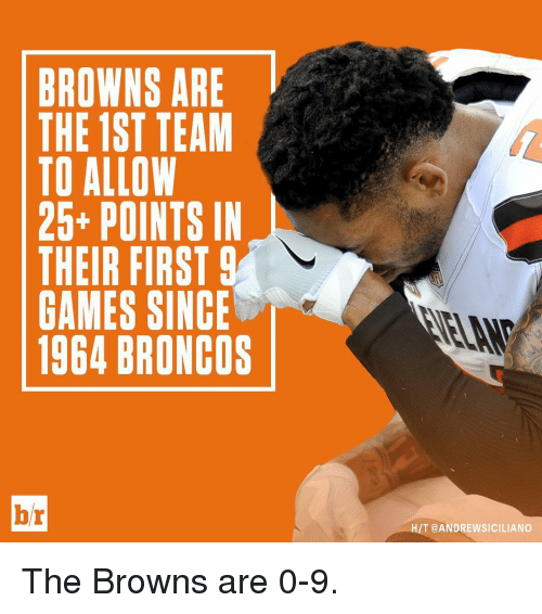 Broncos: BROWNS ARE  THE 1ST TEAM  TO ALLOW  25+ POINTS IN  THEIR FIRST  9  GAMES SINCE  1964 BRONCOS  br  T @ANDREWSICILIANO The Browns are 0-9.